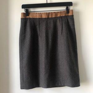 Loft brown pencil skirt - cute ribbon detail